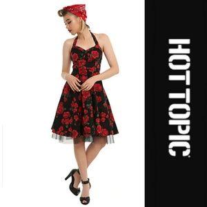 [Hot Topic] Black/Red Floral Rose Halter Dress XL
